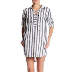 Madewell Striped Linen Blend Lace Up Shirt Dress